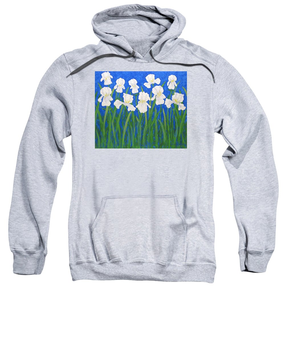 Iris Paintings Sweatshirt featuring the painting White Irises by J Loren Reedy