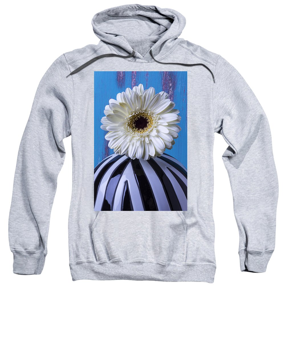 White Vase Gerbera Sweatshirt featuring the photograph White Mum In Striped Vase by Garry Gay