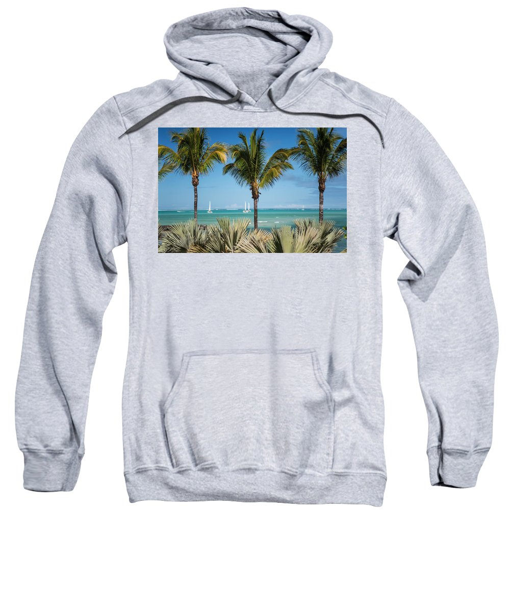 Ocean Sweatshirt featuring the photograph White Sails. Mauritius by Jenny Rainbow