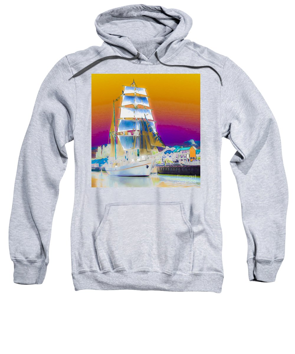 Colorful Sweatshirt featuring the digital art White Sails Ship And Colorful Background by Algirdas Lukas