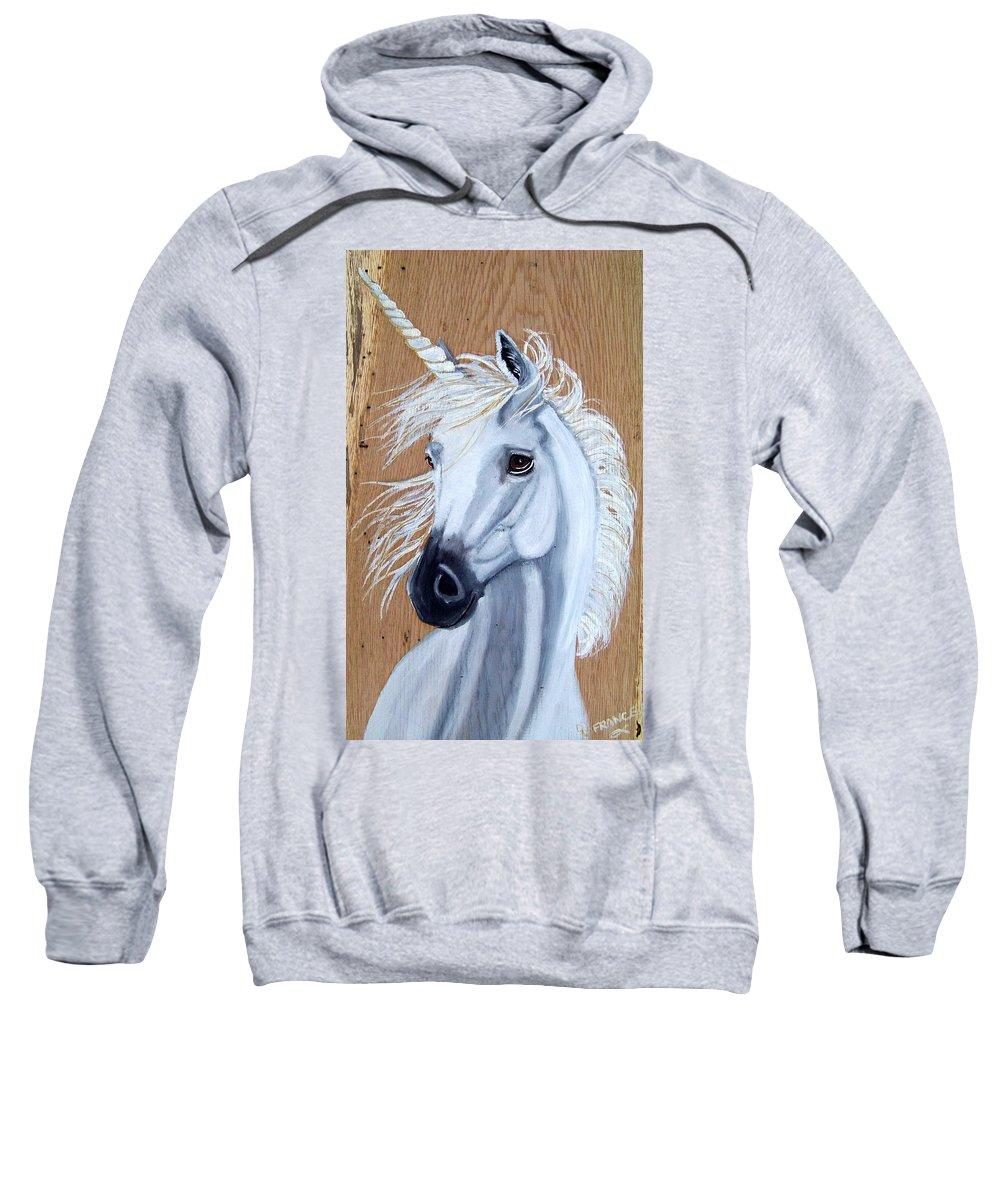 Unicorn Sweatshirt featuring the painting White Unicorn On Wood by Debbie LaFrance