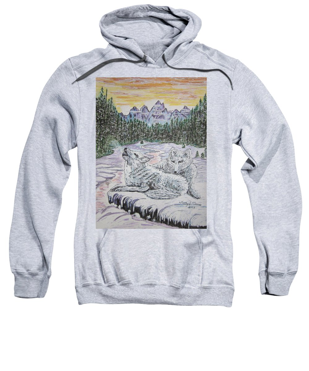 White Wolves Sweatshirt featuring the painting White Wolves by Kathy Marrs Chandler