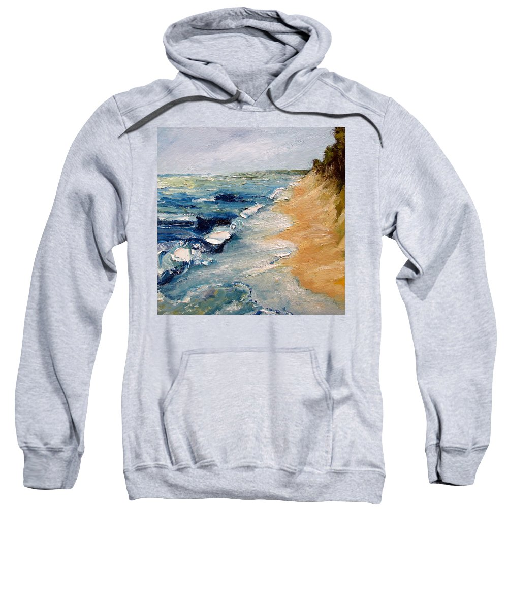 Whitecaps Sweatshirt featuring the painting Whitecaps On Lake Michigan 3.0 by Michelle Calkins