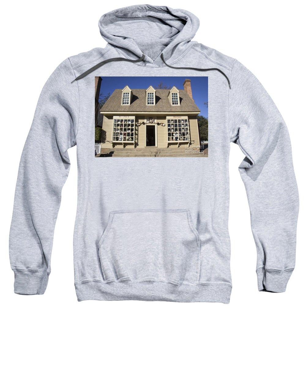 Colonial Williamsburg Sweatshirt featuring the photograph William Pitt Shop Williamsburg Virginia by Teresa Mucha