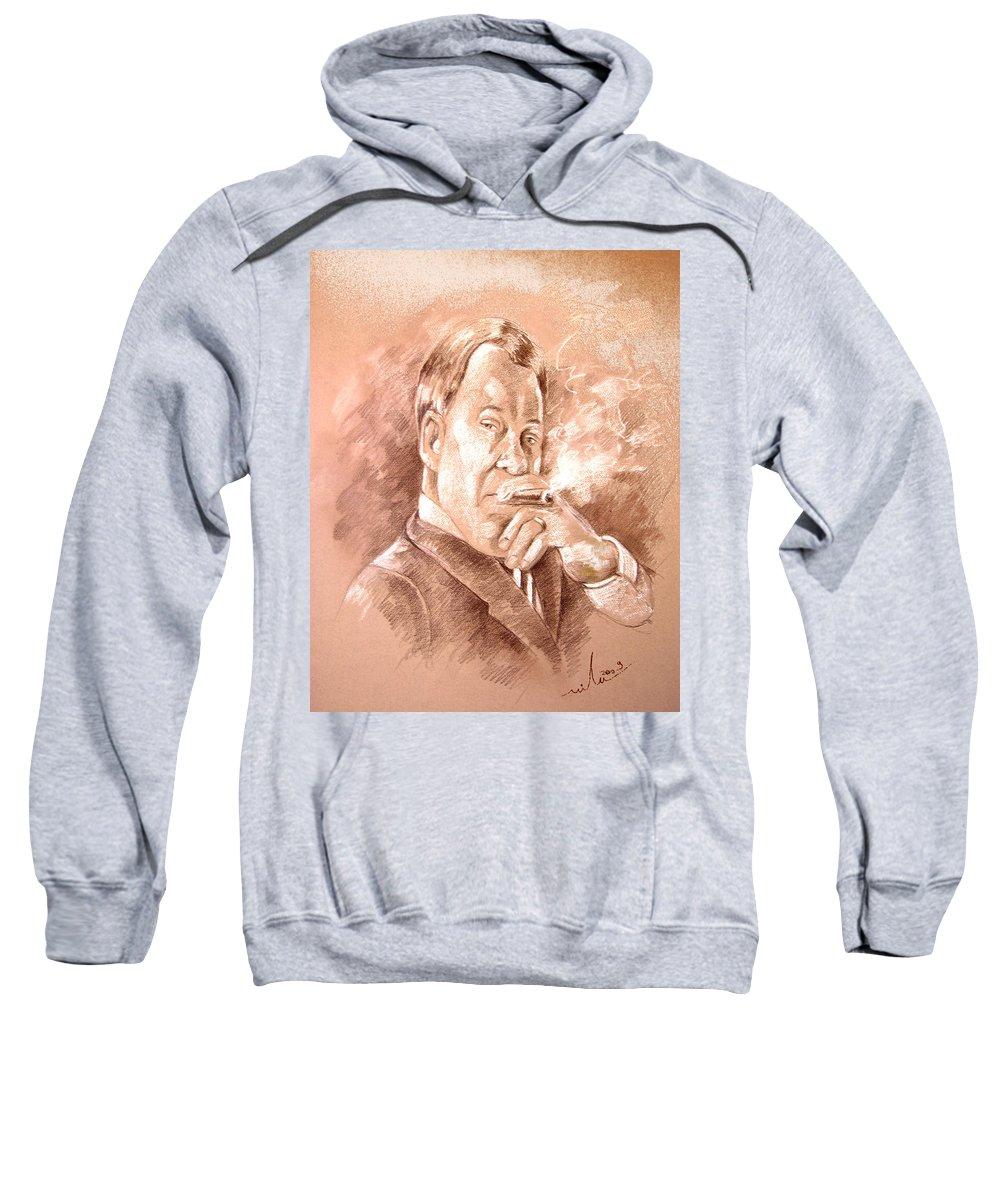 Portrait William Shatner Sweatshirt featuring the painting William Shatner As Denny Crane In Boston Legal by Miki De Goodaboom