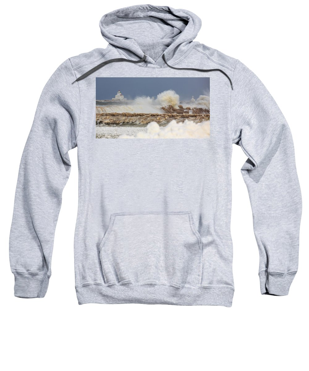 Lighthouse Sweatshirt featuring the photograph Wind And Ice by Everet Regal