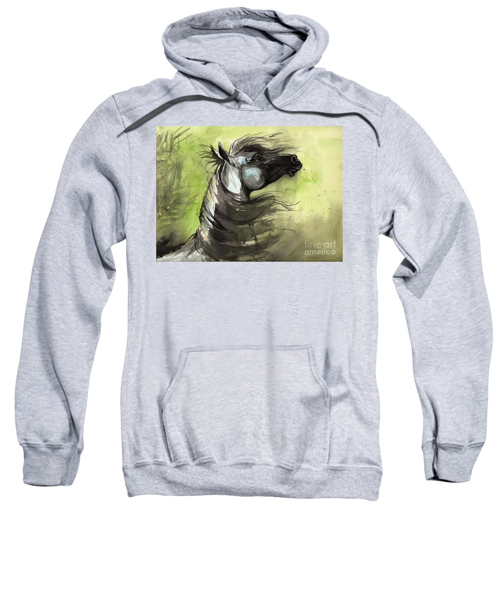 Arabian Horse Sweatshirt featuring the painting Wind In The Mane 3 by Angel Ciesniarska