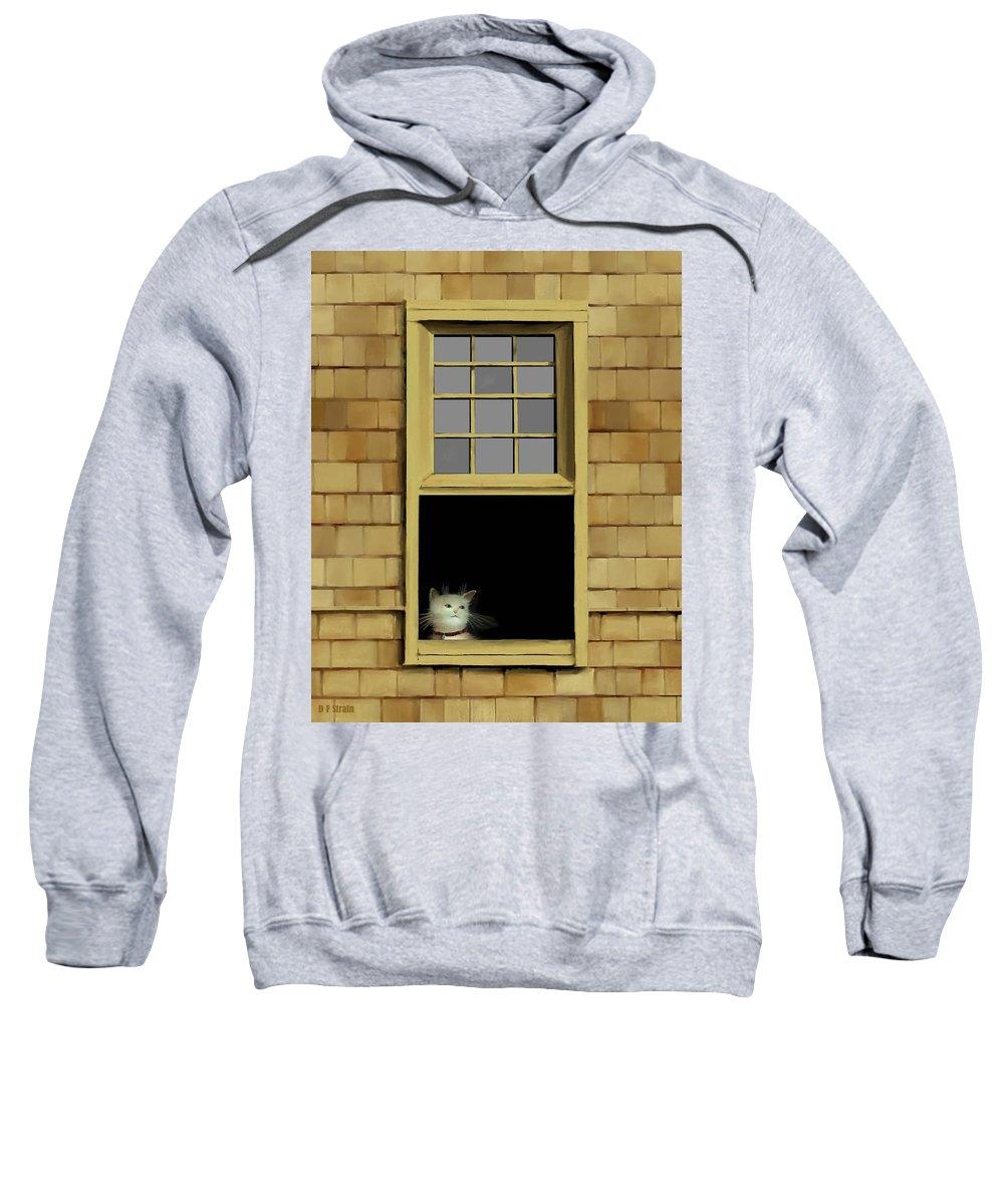 Diane Strain Sweatshirt featuring the painting Window Cat  No. 2 by Diane Strain