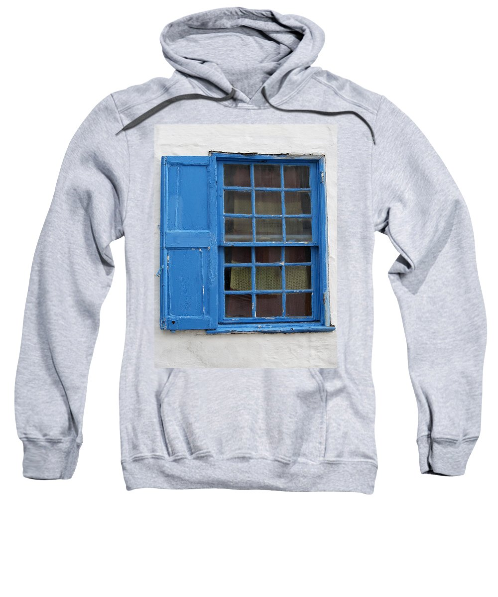 White Sweatshirt featuring the photograph window in blue - British style window in a mediterranean blue by Pedro Cardona Llambias