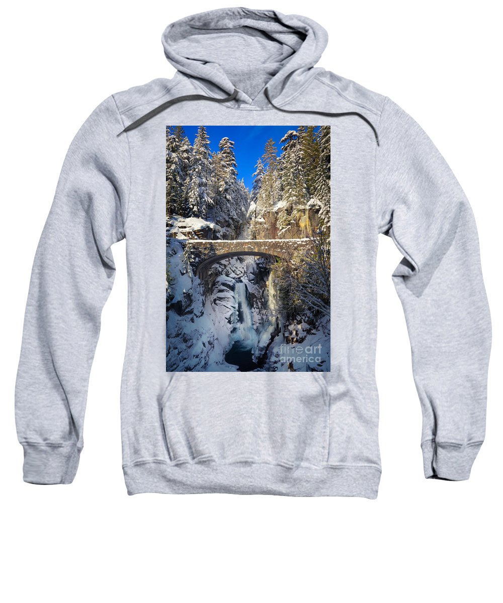 America Sweatshirt featuring the photograph Winter At Christine Falls by Inge Johnsson