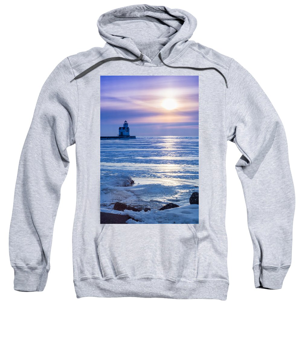 Lighthouse Sweatshirt featuring the photograph Winter Blues by Bill Pevlor