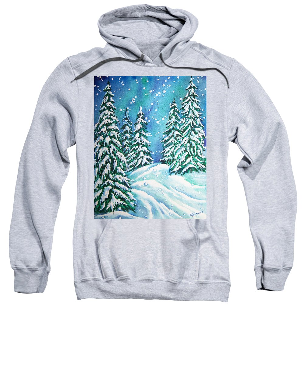 Snow Sweatshirt featuring the painting Winter by Conni Reinecke