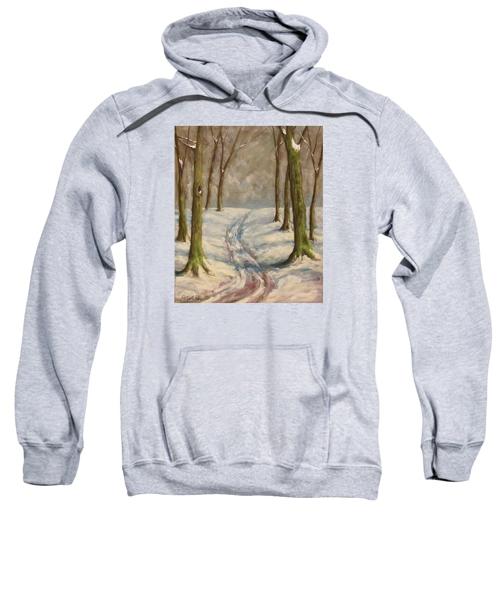 Winter Sweatshirt featuring the painting Winter Day by Birgit Schnapp