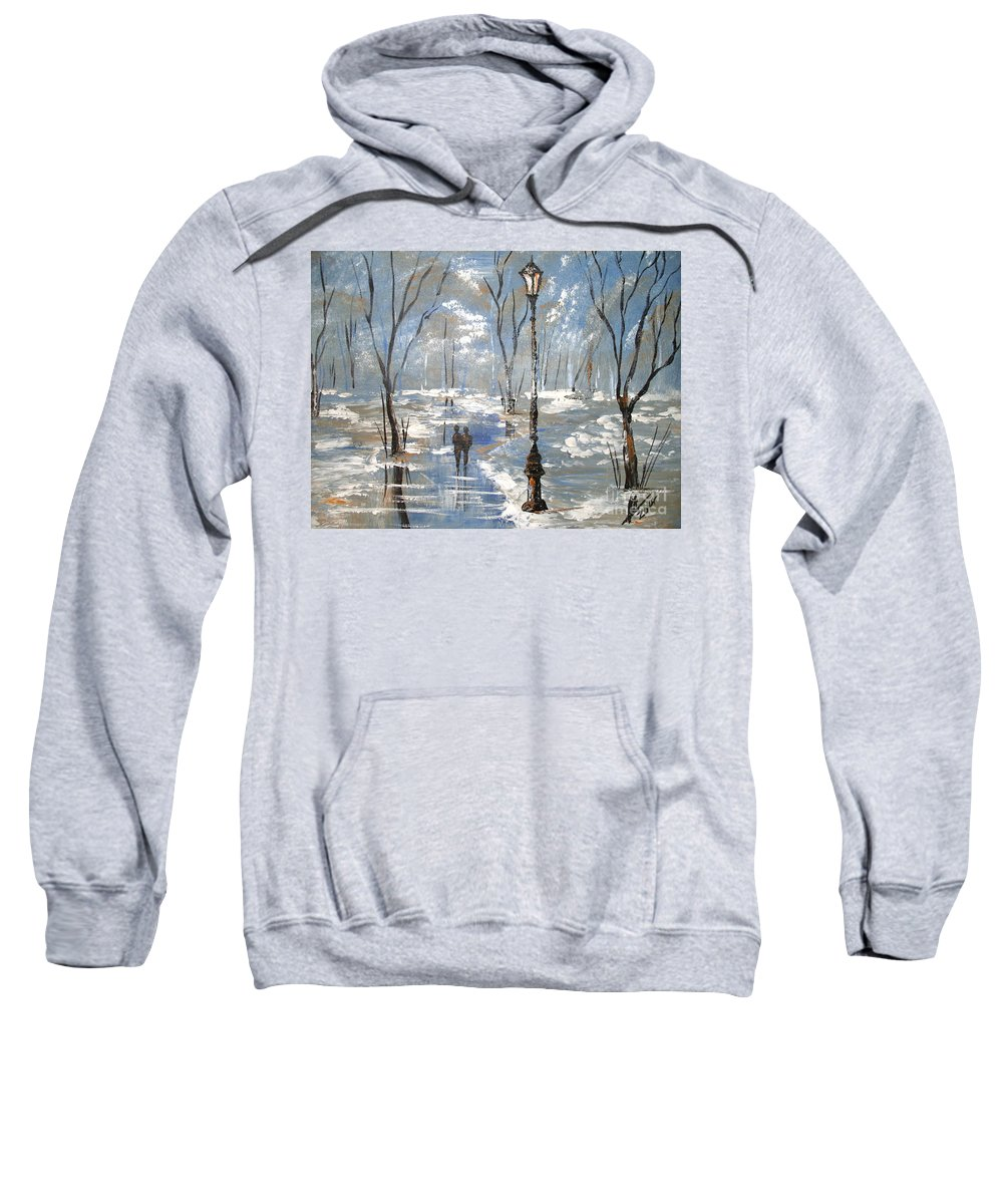 Acrylic Painting Sale Sweatshirt featuring the painting Winter Frost by Collin A Clarke