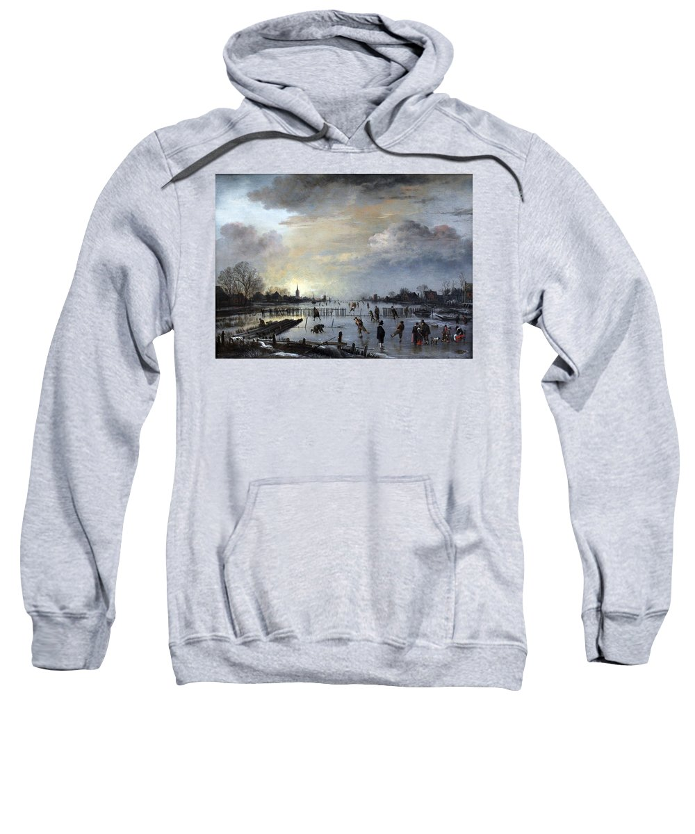 Winter Sweatshirt featuring the painting Winter Landscape With Skaters by Gianfranco Weiss