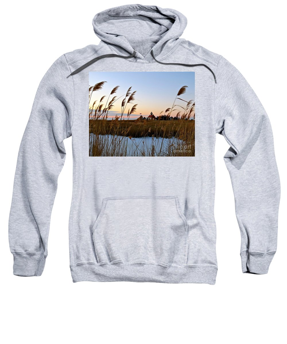 East Point Lighthouse Sweatshirt featuring the photograph Winter On The Delaware by Nancy Patterson
