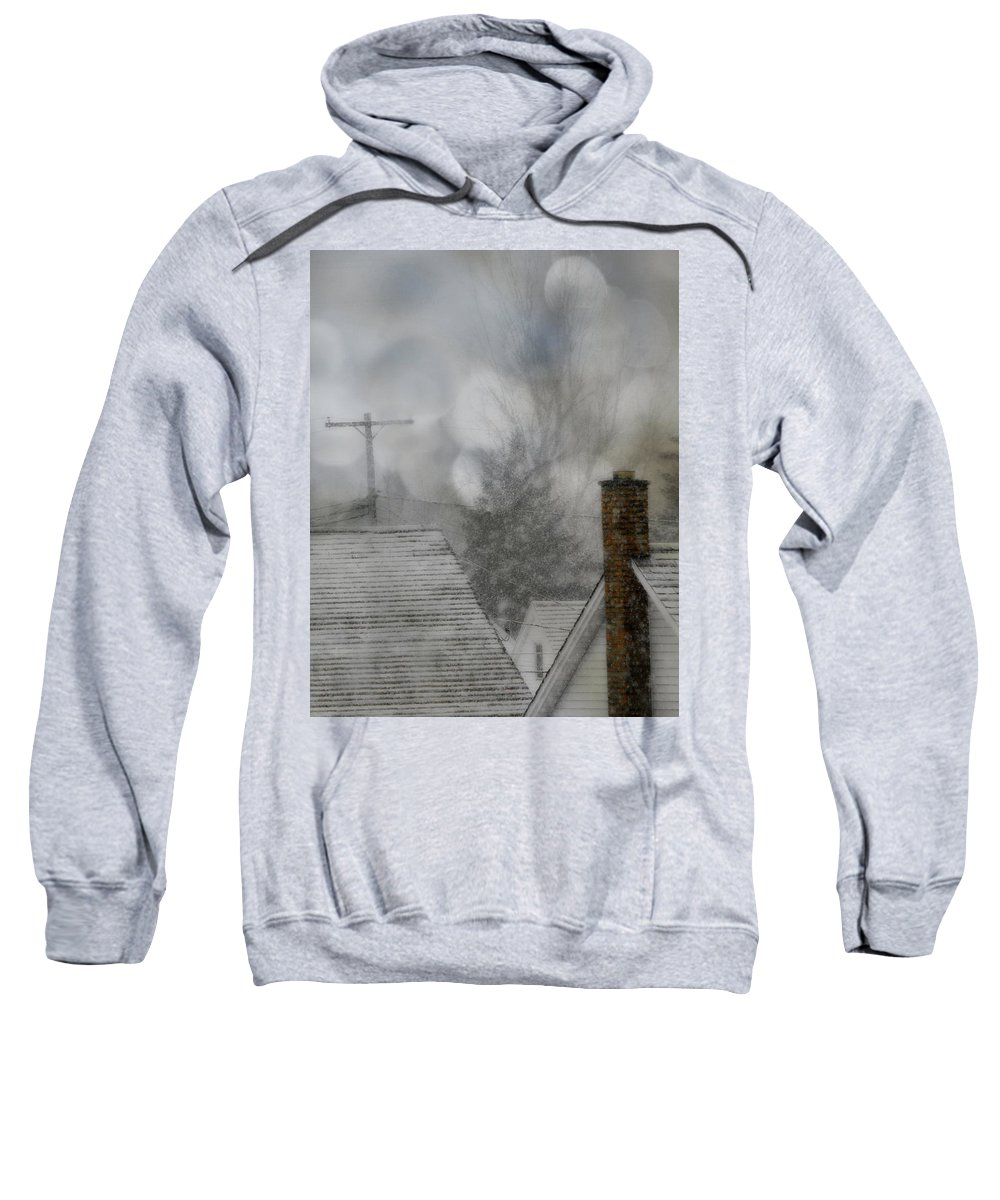 Rooftops In Winter Sweatshirt featuring the photograph Winter Rooftops by Gothicrow Images