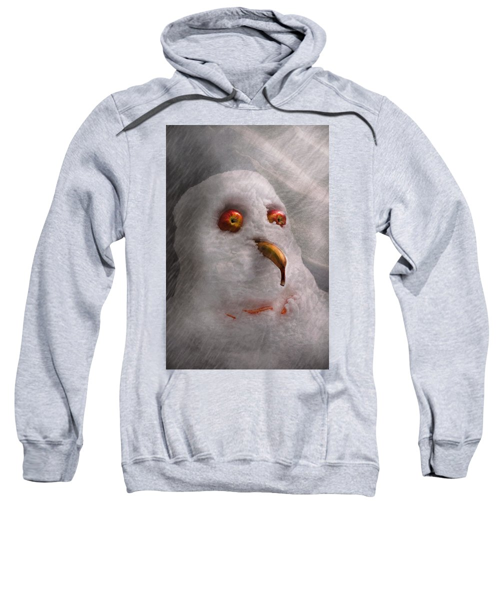Winter Sweatshirt featuring the photograph Winter - Snowman - What Are You Looking At by Mike Savad