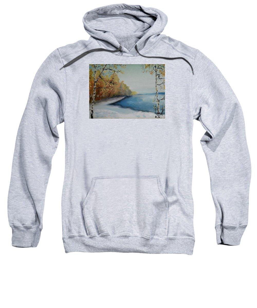 Raija Merila Sweatshirt featuring the painting Winter Starts At Kymi River by Raija Merila