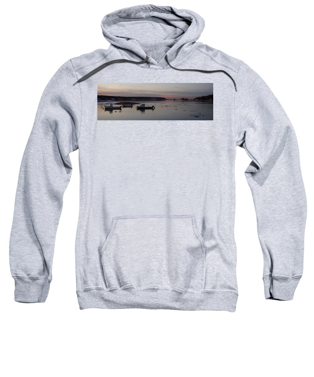 Winter Sweatshirt featuring the photograph Winter Sunset On The Harbor by John Wall