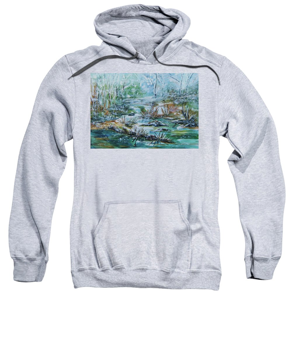 Creek Sweatshirt featuring the painting Winter Whispers On Catskill Creek by Ellen Levinson