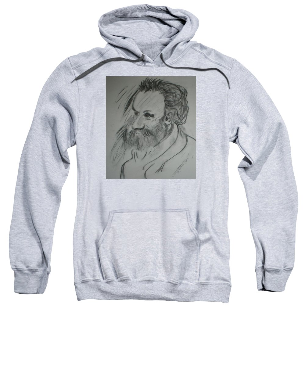 Man Sweatshirt featuring the drawing Wise Man by Judy Gerstner