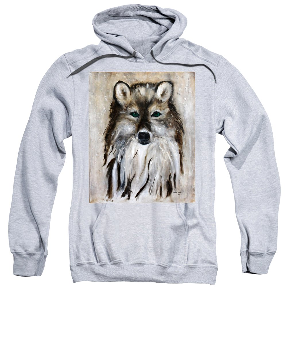 Wolf Sweatshirt featuring the painting Wolf - Star Trakr by Barbie Batson