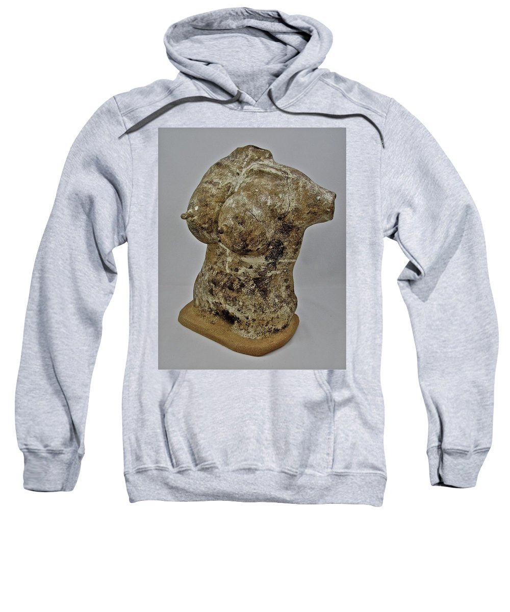 Figures Sweatshirt featuring the sculpture Woman #5 by Mario MJ Perron