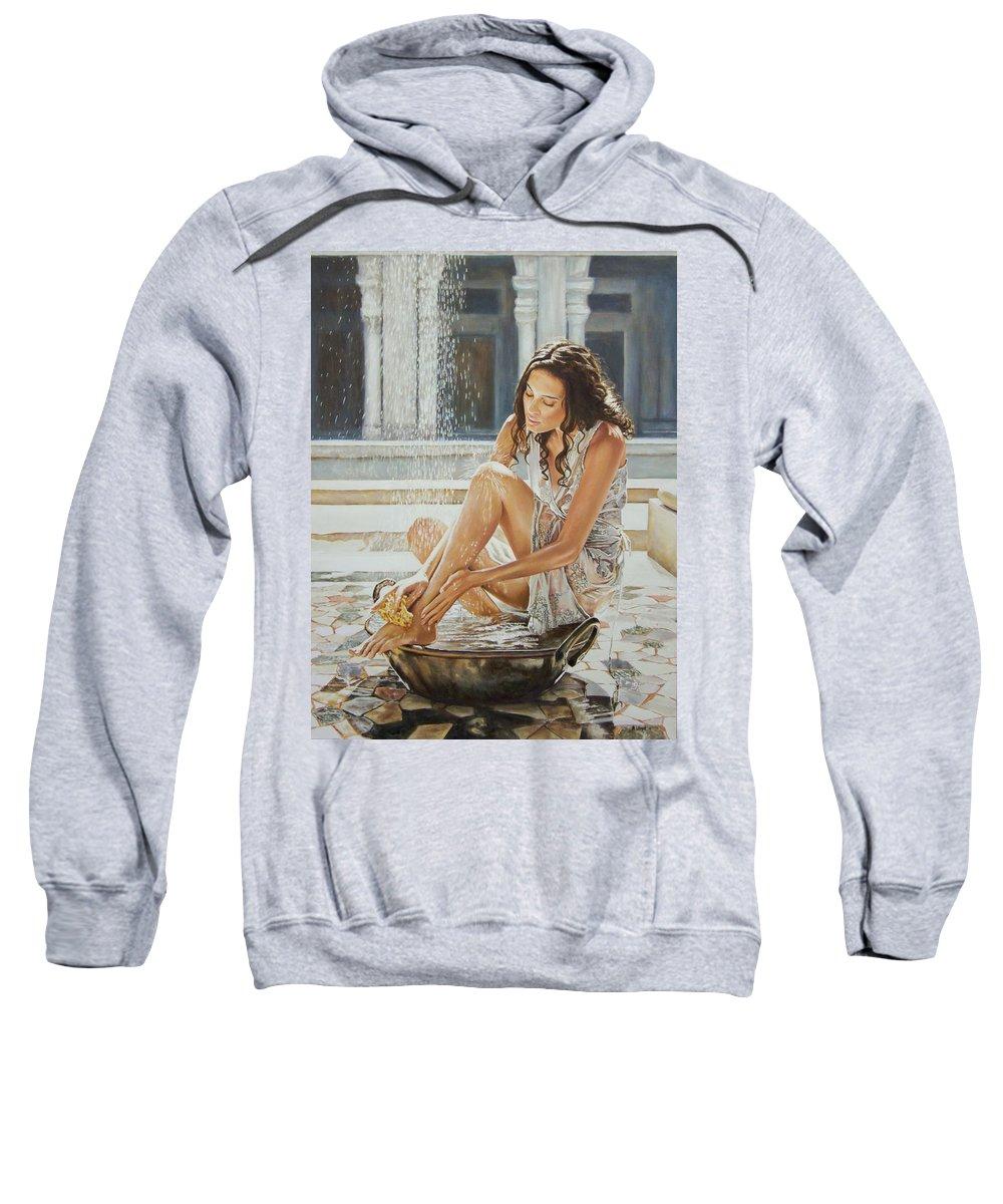 Woman Bathing Light Water Bath Waterfall Tiles Figurative Realism Sweatshirt featuring the painting Woman Bathing 2013 by Andy Lloyd