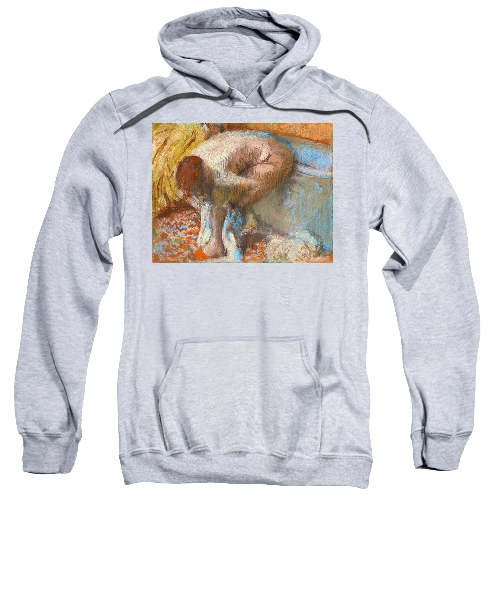 Edgar Degas Sweatshirt featuring the drawing Woman Drying Her Feet by Edgar Degas
