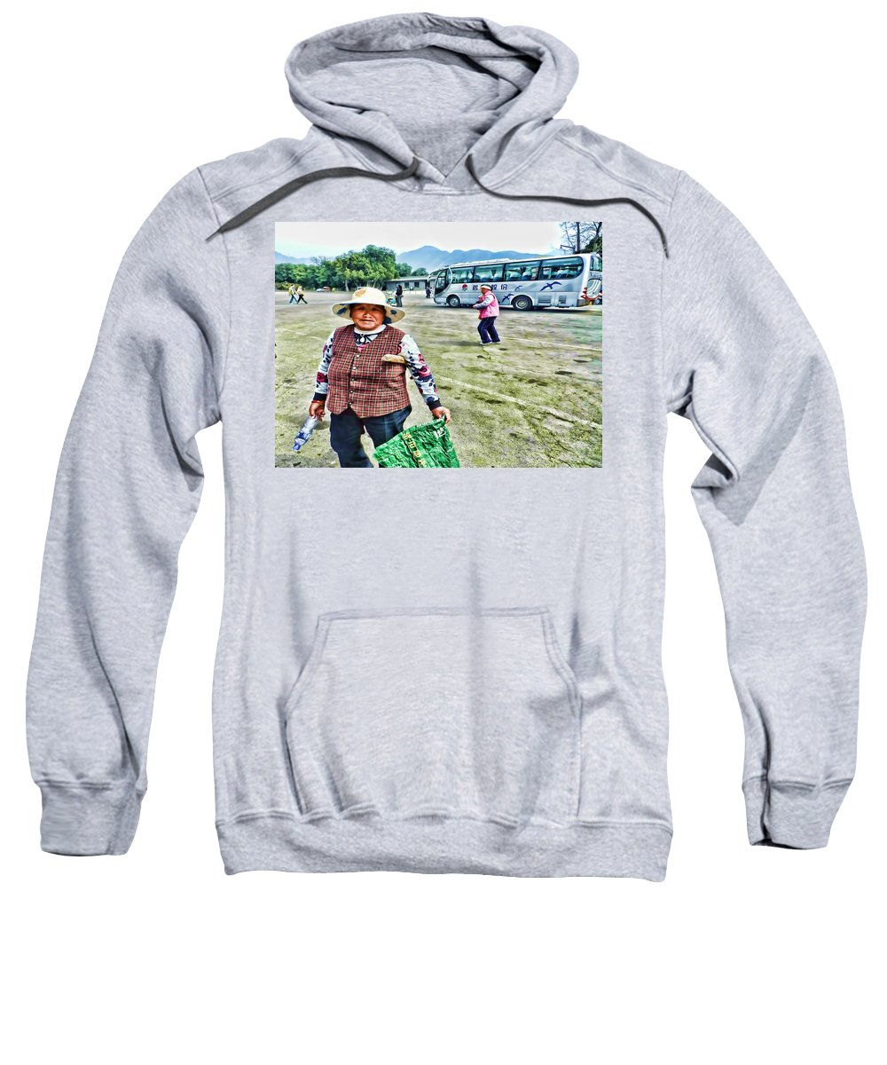 China Sweatshirt featuring the photograph Woman In China by Cathy Anderson