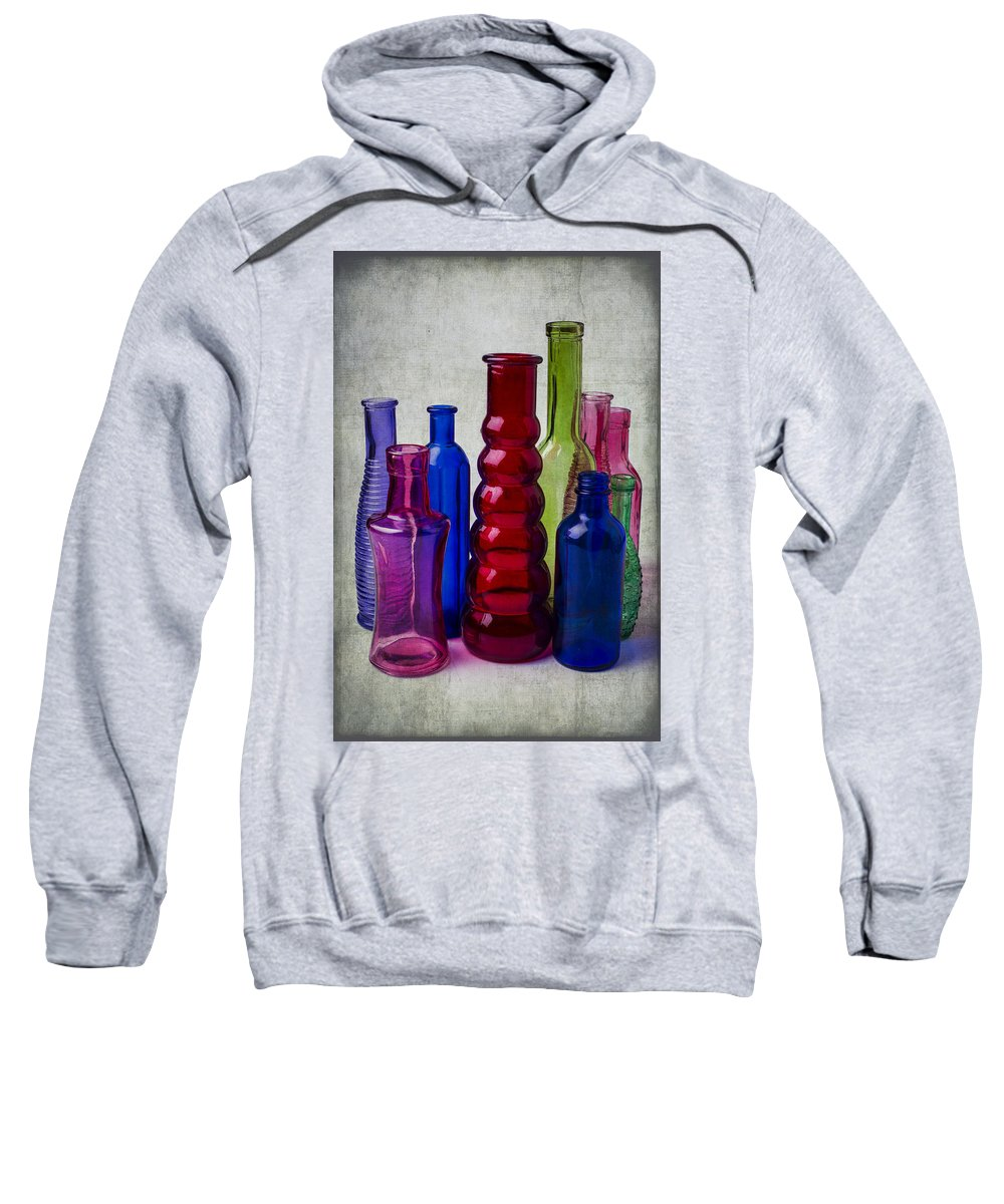 Red Sweatshirt featuring the photograph Wonderful Glass Bottles by Garry Gay
