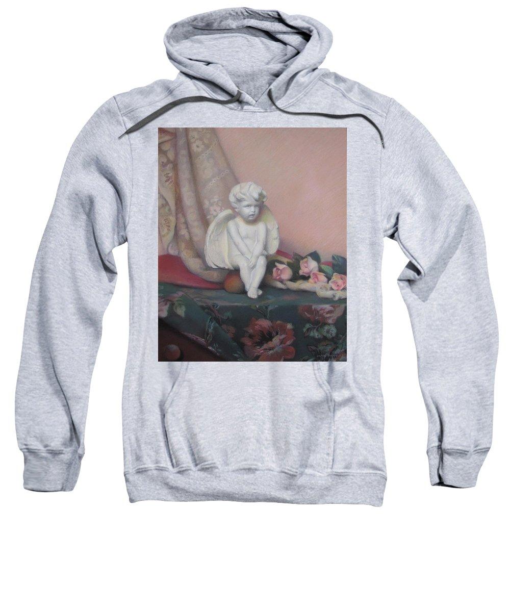 Cupid Sweatshirt featuring the painting Wondering Cupid by Dianne Panarelli Miller