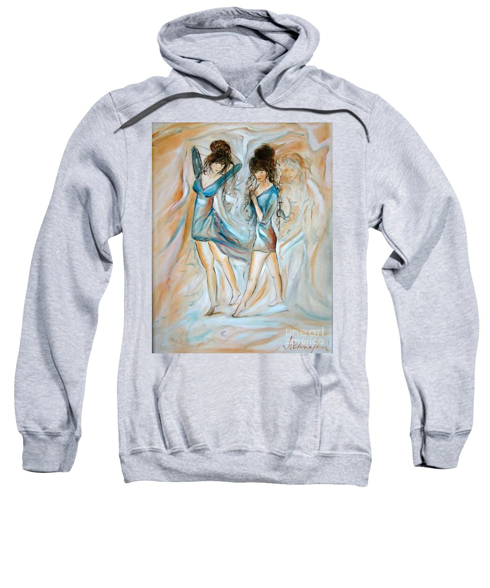 Contemporary Art Sweatshirt featuring the painting Wondering by Silvana Abel