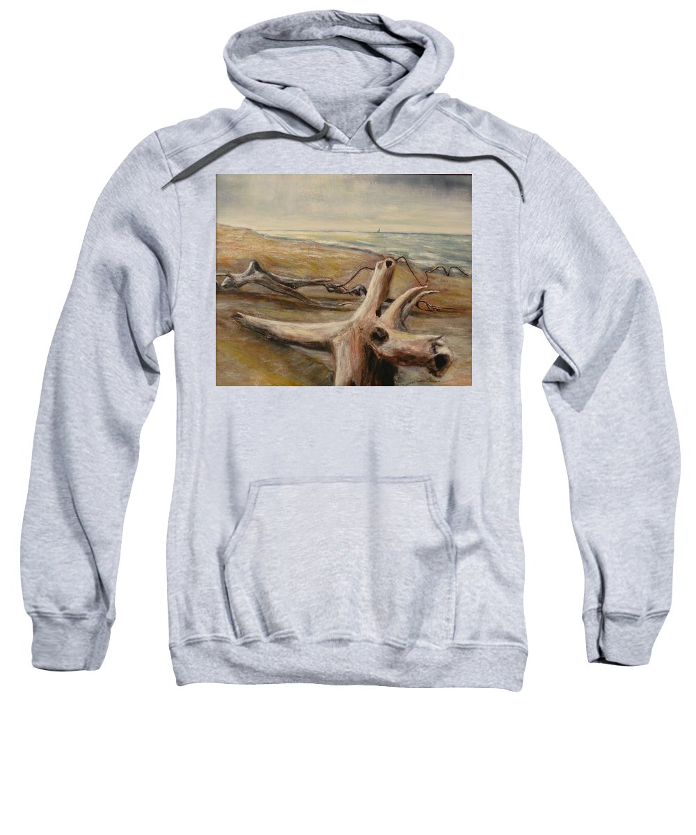 Scenery Sweatshirt featuring the painting Wood Sand Water And Sky by Michael Anthony Edwards