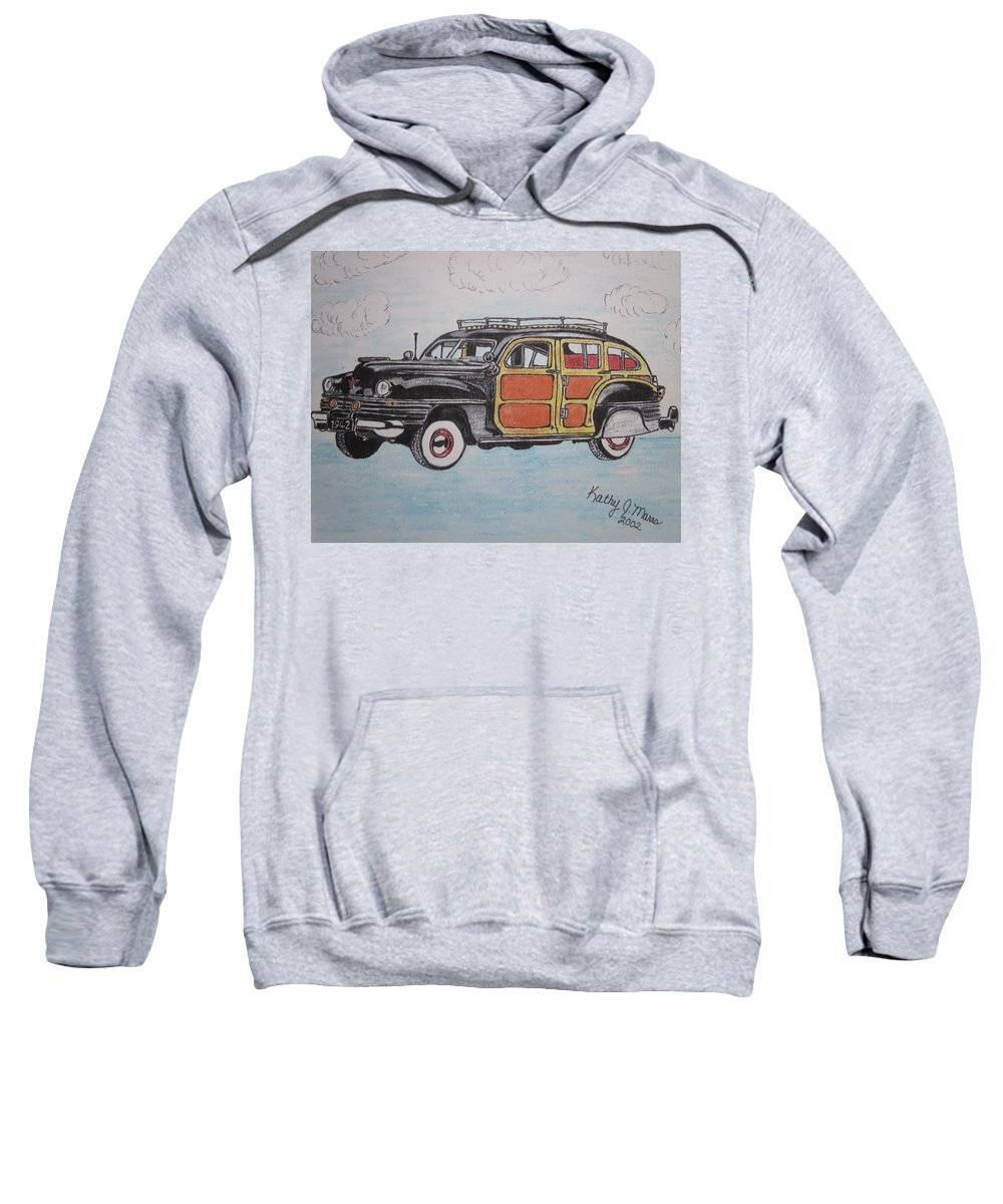 Woodie Sweatshirt featuring the painting Woodie Station Wagon by Kathy Marrs Chandler