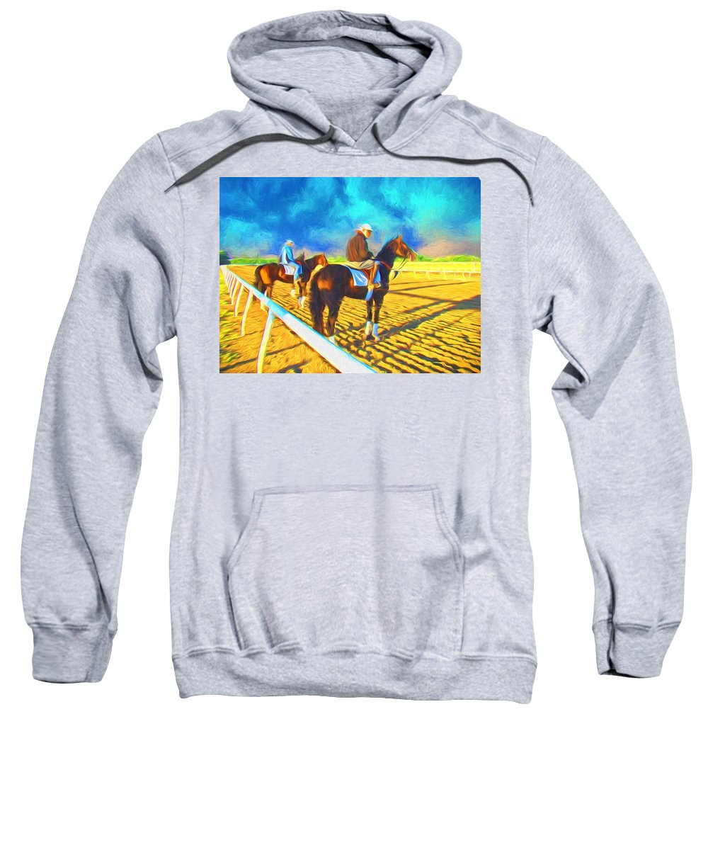 Fairhill Racetrck Sweatshirt featuring the photograph Workout Ready by Alice Gipson