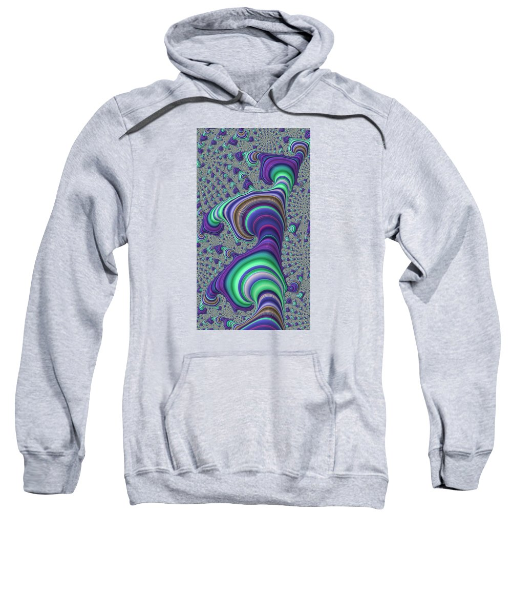 Fractal Sweatshirt featuring the digital art Wriggle Thru Time by Ron Bissett