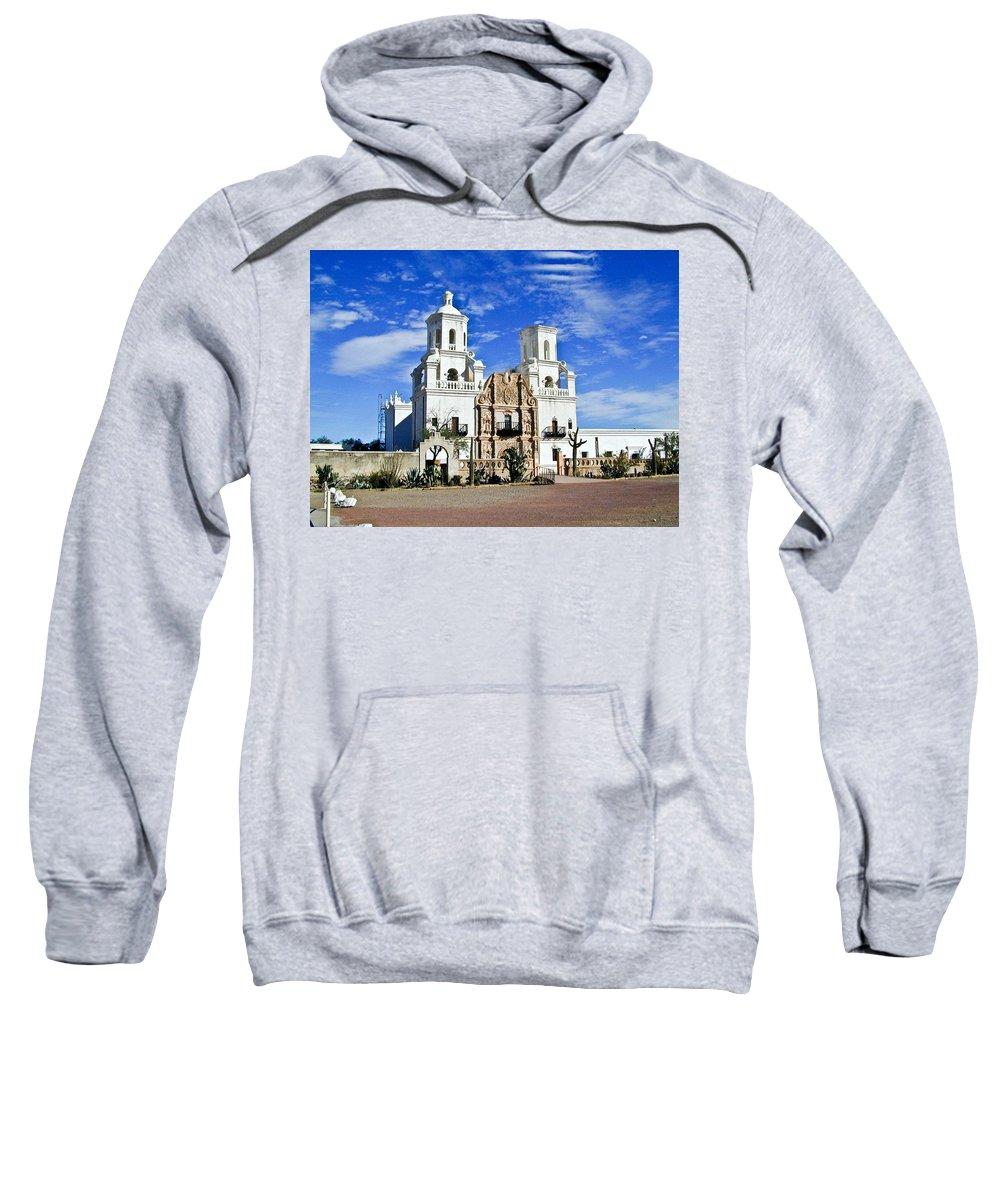 Mission San Xavier Del Bac Sweatshirt featuring the photograph Xavier Tucson Arizona by Douglas Barnett