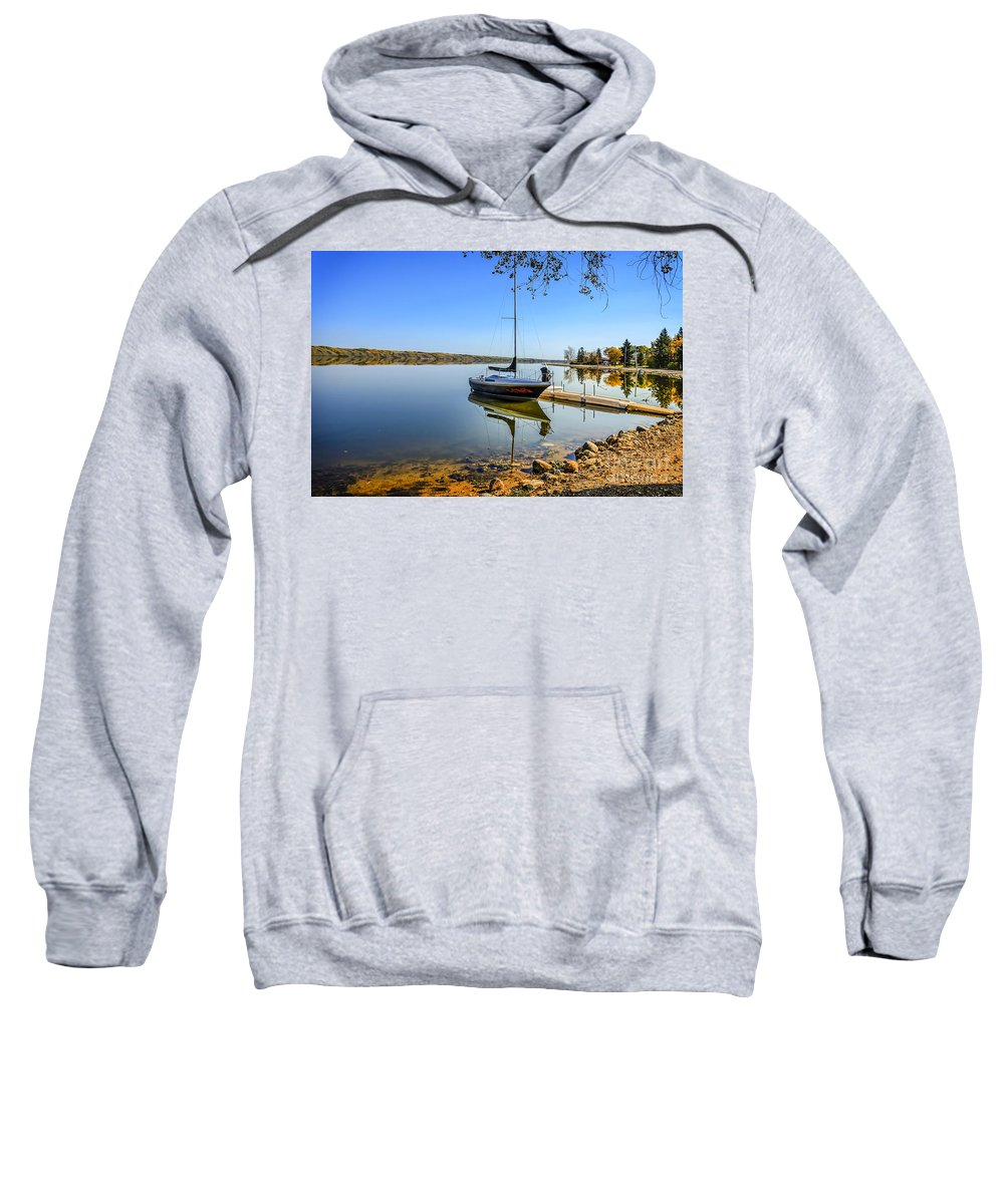 Canada Sweatshirt featuring the photograph Yacht At The Little Manitou Lake by Viktor Birkus