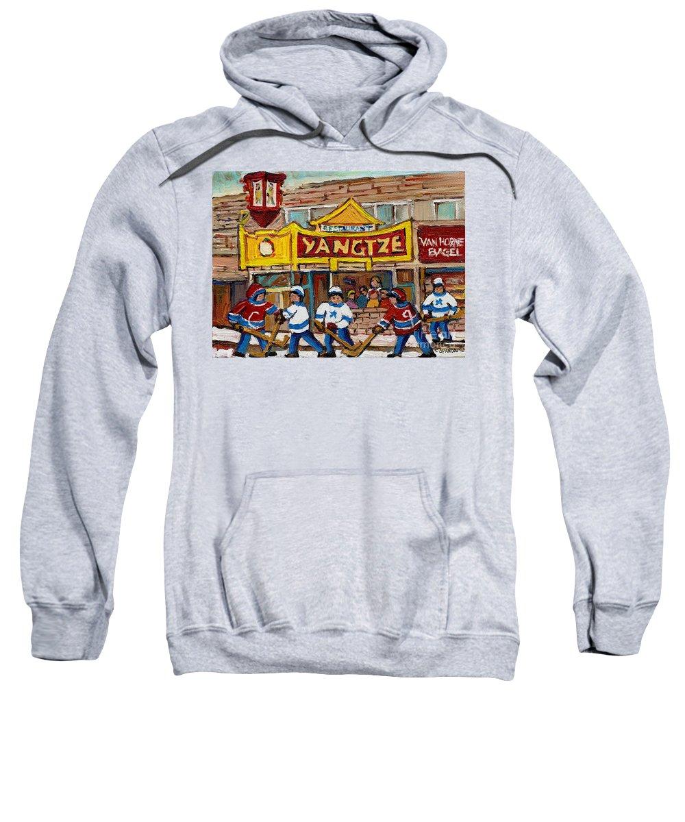 Montreal Sweatshirt featuring the painting Yangtze Restaurant With Van Horne Bagel And Hockey by Carole Spandau