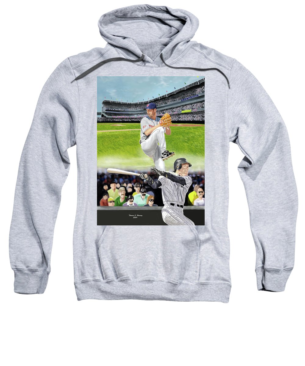 Baseball Sweatshirt featuring the digital art Yankees Vs Indians by Thomas J Herring