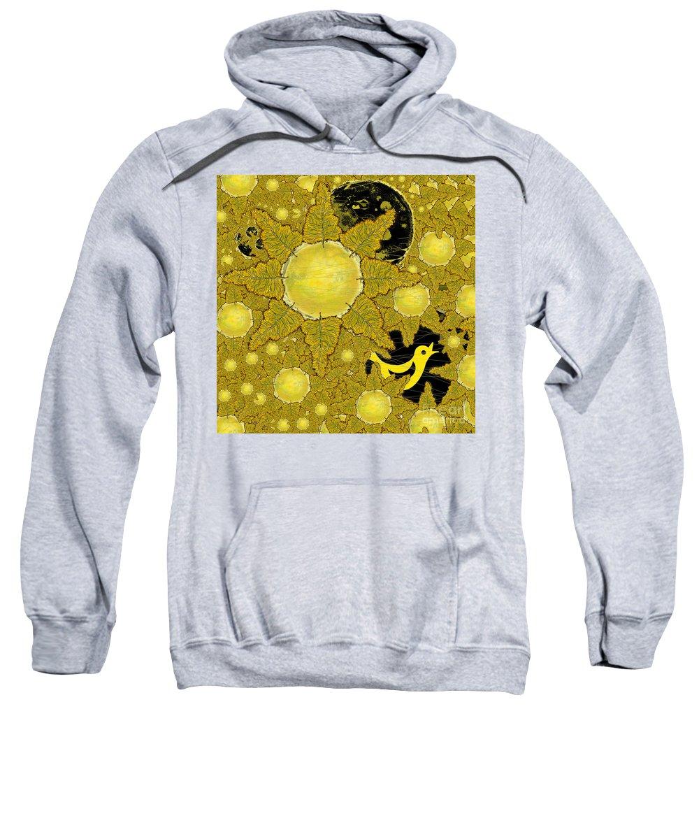 Bird Sweatshirt featuring the digital art Yellow Bird Sings In The Sunflowers by Carol Jacobs