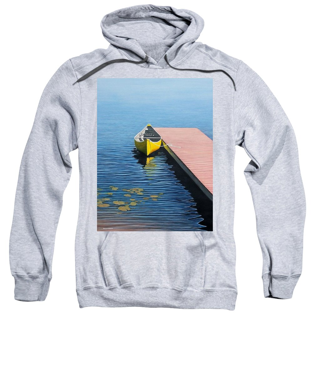 Landscape Paintings Sweatshirt featuring the painting Yellow Canoe by Kenneth M Kirsch
