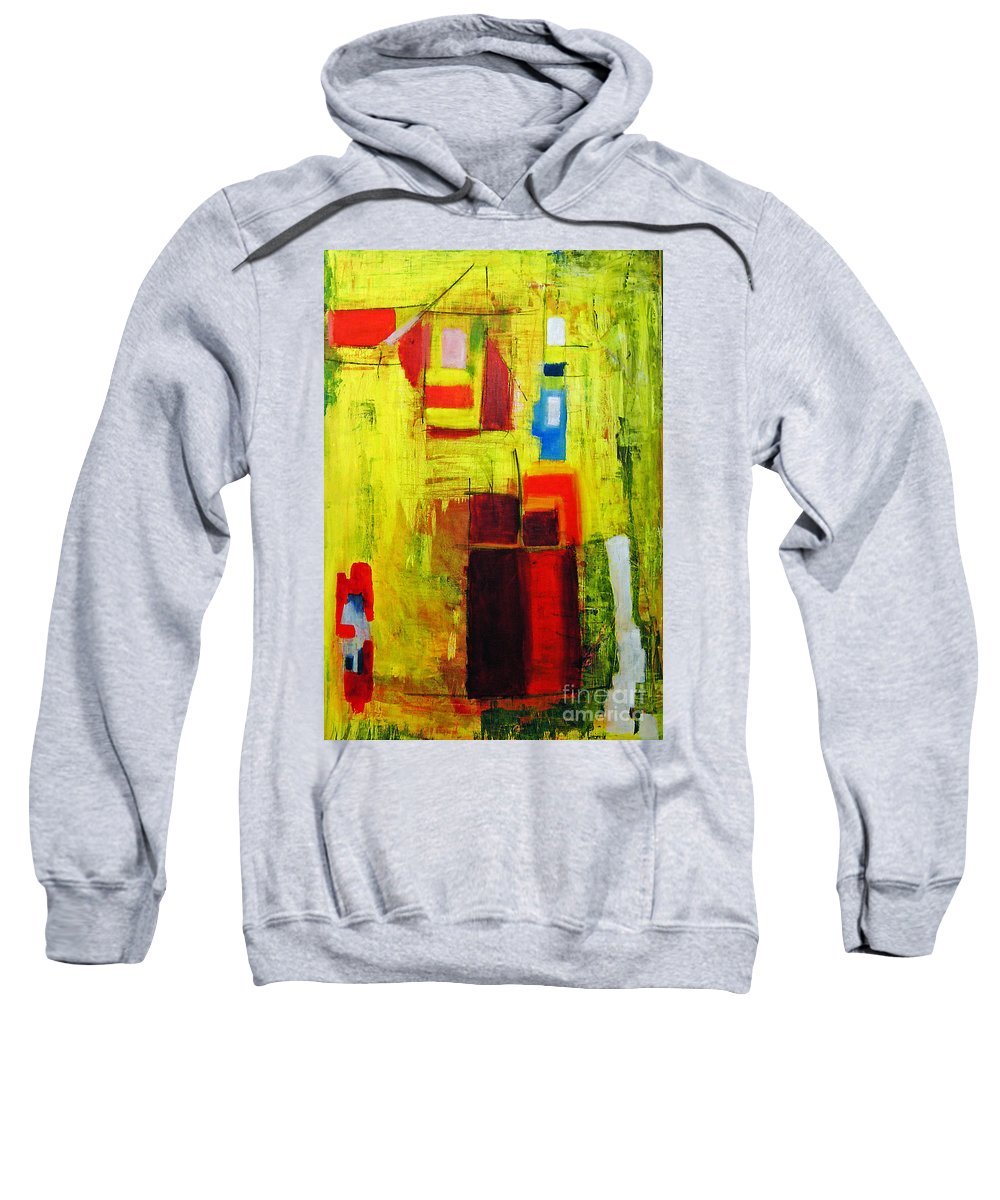 Abstract Painting Sweatshirt featuring the painting Yellow by Jeff Barrett
