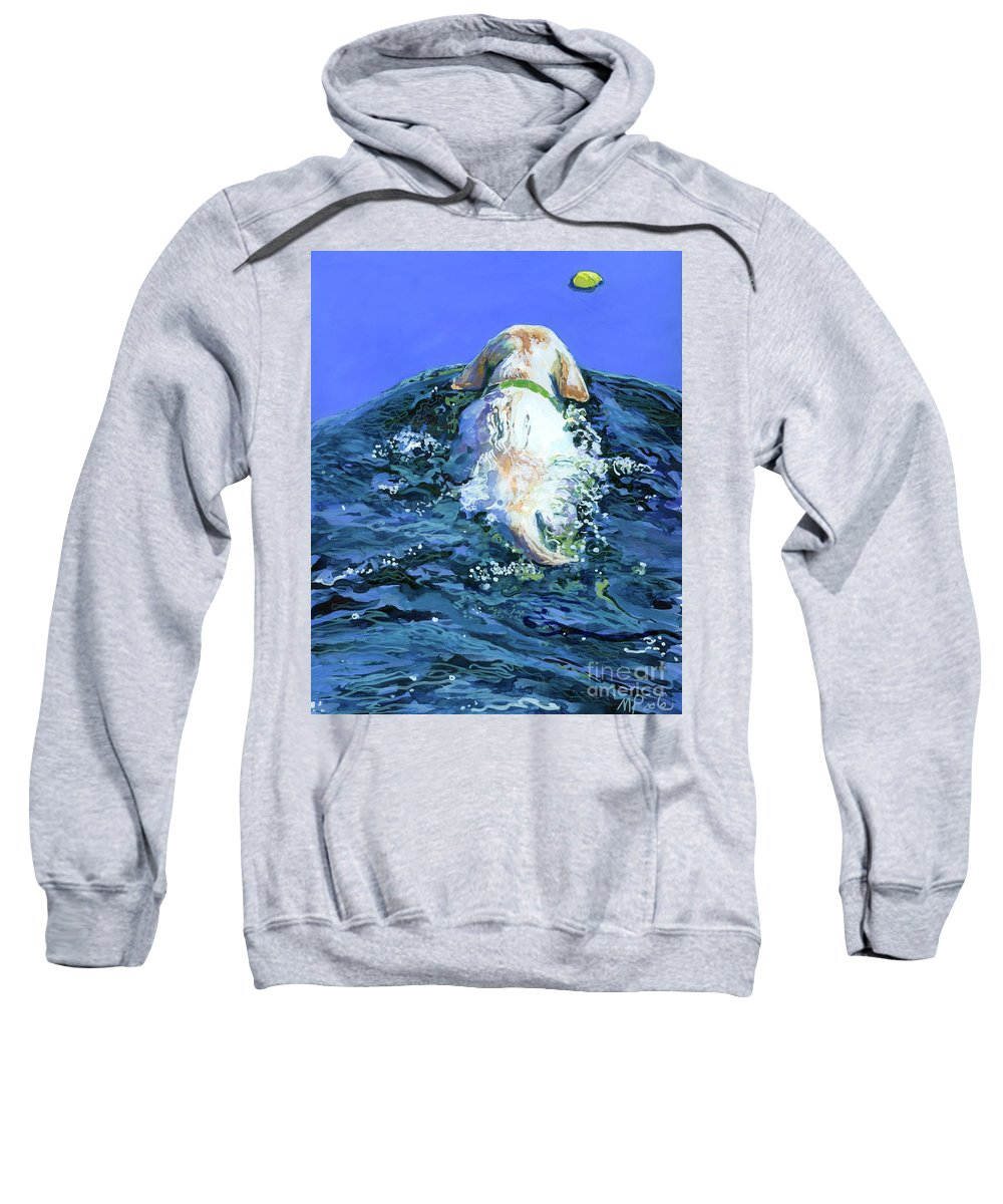 Yellow Labrador Retriever Sweatshirt featuring the painting Yellow Lab Blue Wake by Molly Poole