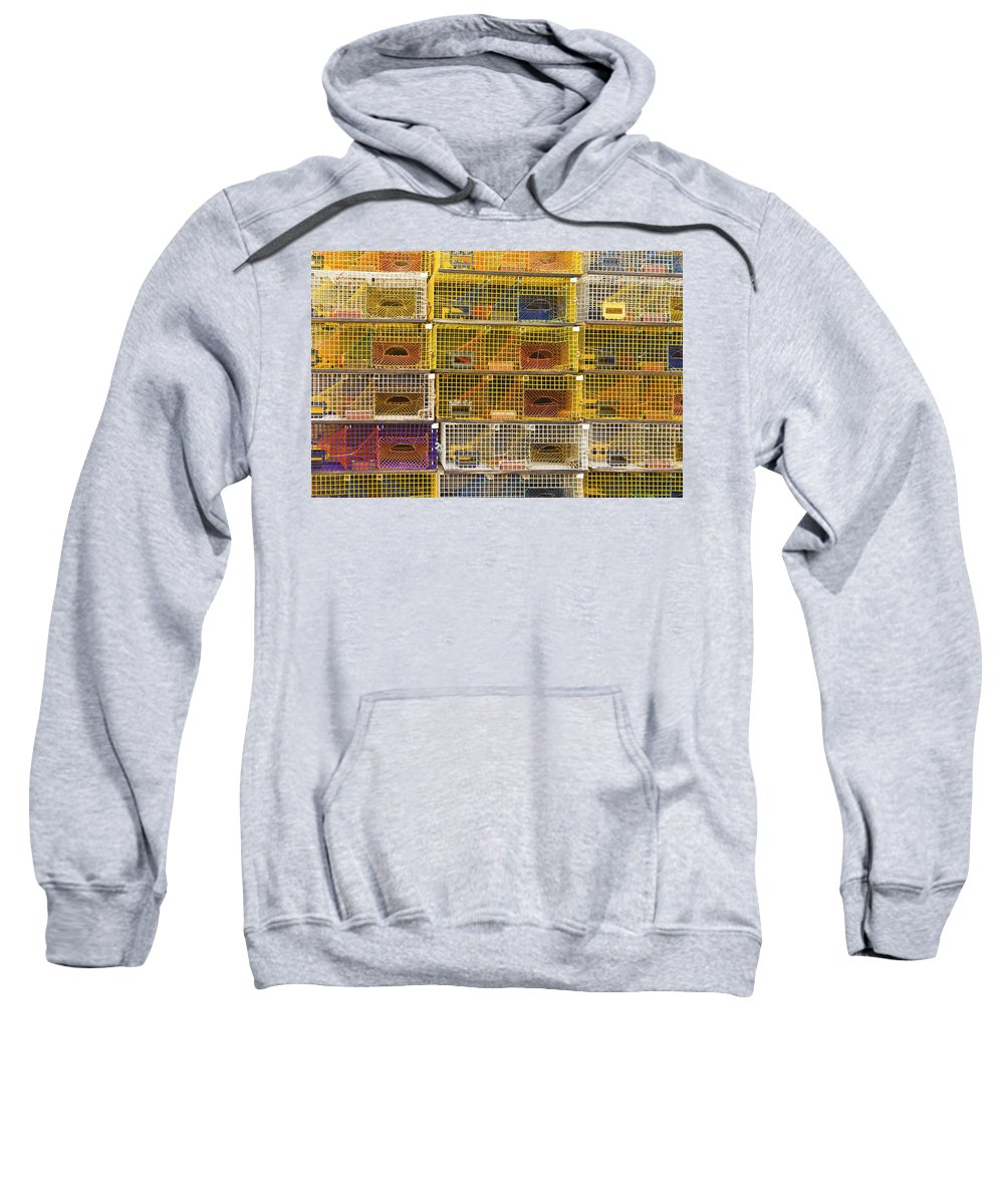 Lobstertrap Sweatshirt featuring the photograph Yellow Lobster Traps In Maine by Keith Webber Jr