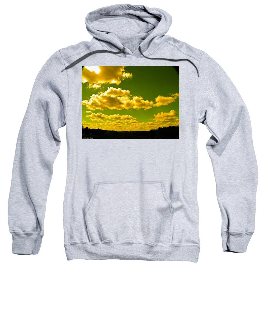 Yellow Sweatshirt featuring the photograph Yellow Skies by Nick Kirby