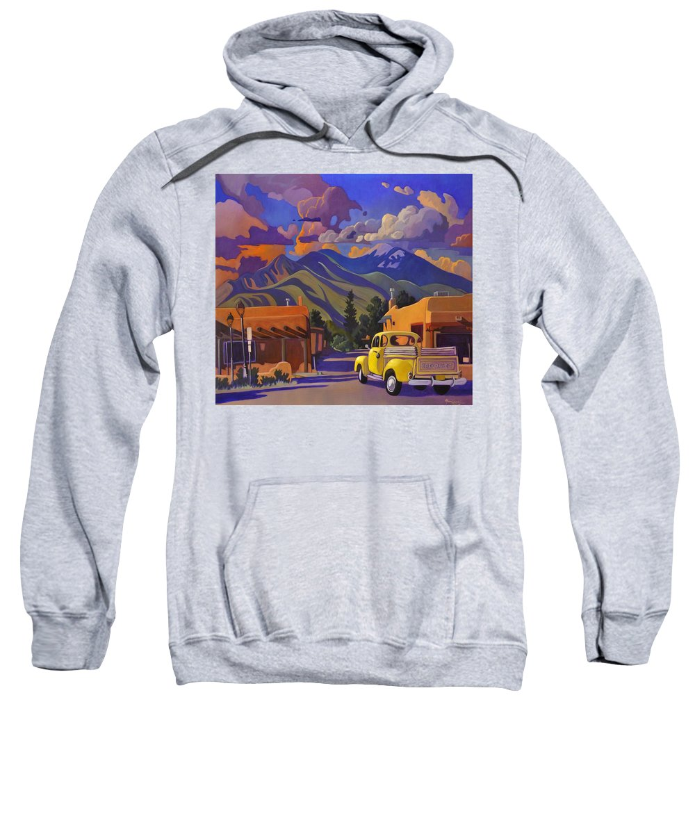 Taos Sweatshirt featuring the painting Yellow Truck by Art James West
