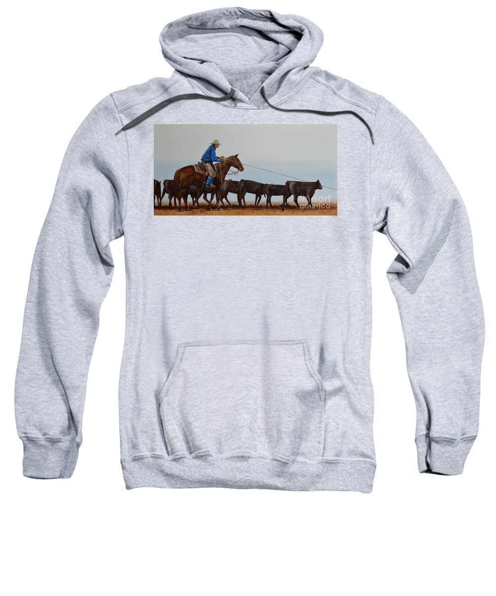 Art Sweatshirt featuring the painting You're Next by Mary Rogers
